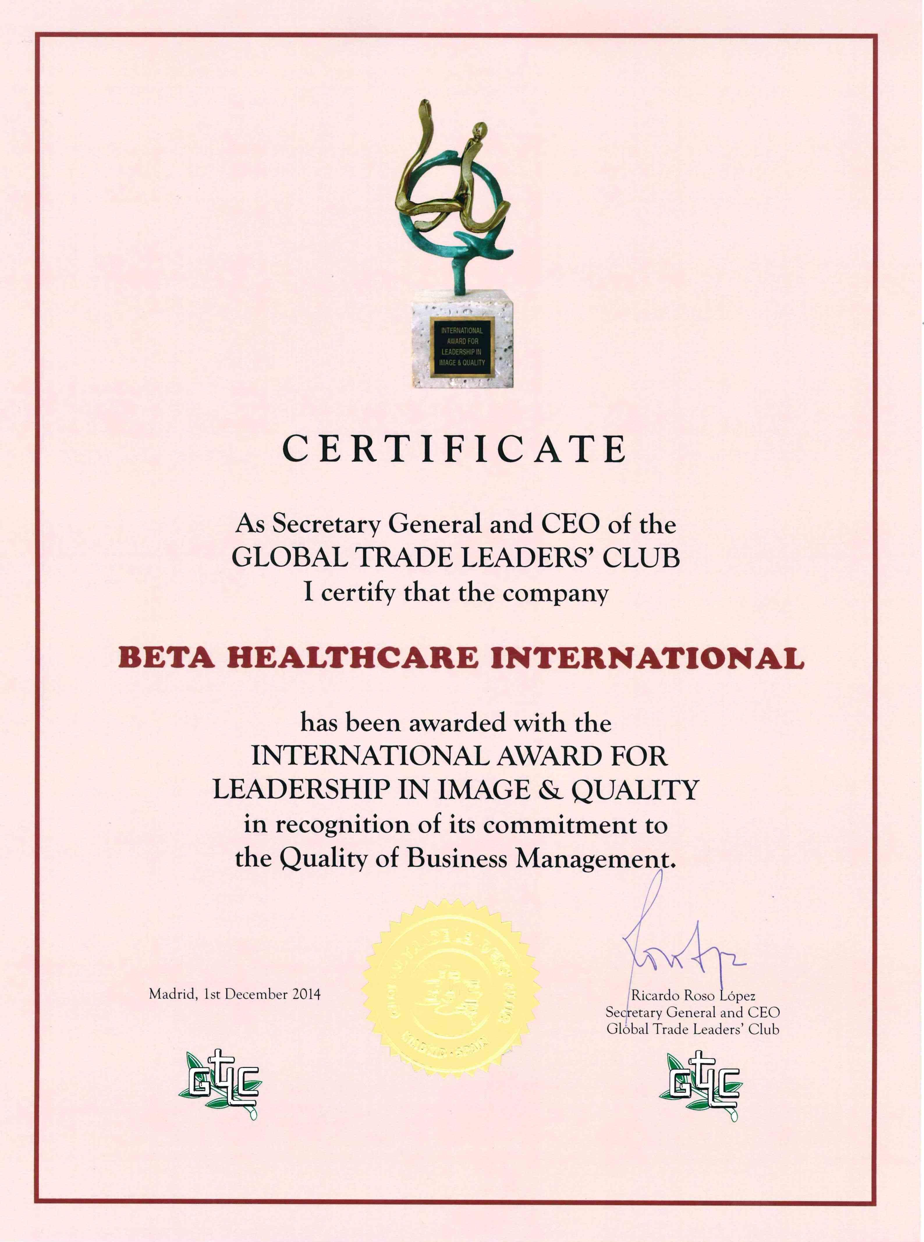 Certificate Award For Leadership In Image And Quality